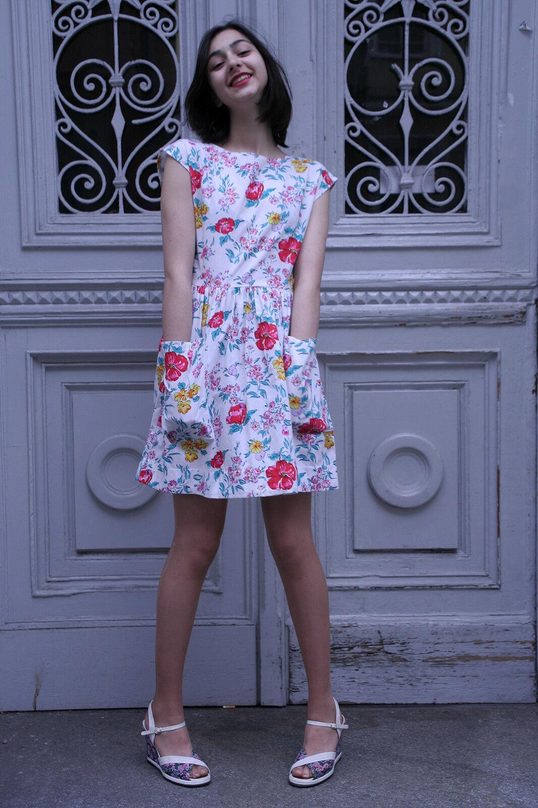Damen Kleid Blaumenkleid 60er True VINTAGE 60's woman flower dress Damenmode