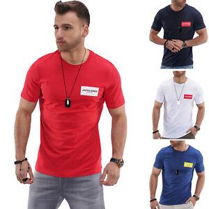 Jack-amp-Jones-T-Shirt-Hommes-Print-Shirt-Manches-Courtes-Shirt-De-Loisirs-Shirt-Streetwear