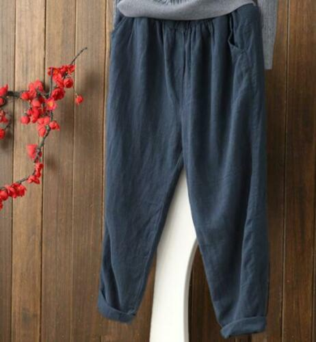 Womens Harem Pants Loose Casual Summer Vintage Cotton Lined Light Solid Chic New
