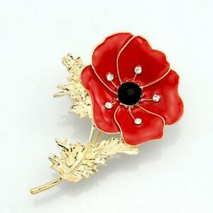 New-Red-Remembrance-Poppy-Brooch-Pin-Badge-Gold-Diamante-Flower-Gift-UK-STOCK