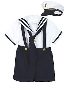 Baby-Boy-Toddler-Formal-Party-Nautical-Navy-Sailor-Suit-Outfits-SZ-S-M-L-XL-4T