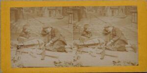 Bambini Musica Scena Da Genere Francia Foto Stereo Vintage Albumina c1870