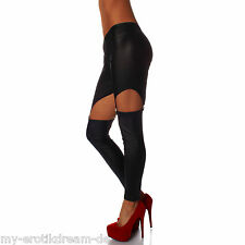WDY178 Wetlook Straps Leggings Schwarz Strapse Gogo glänzend one size