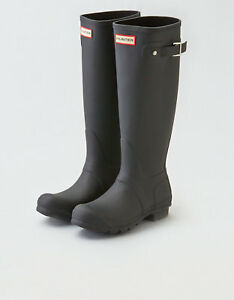 709c8e6c44e3 Image is loading Hunter-Original-Tall-Rain-Boots-Black-Matte-Size-