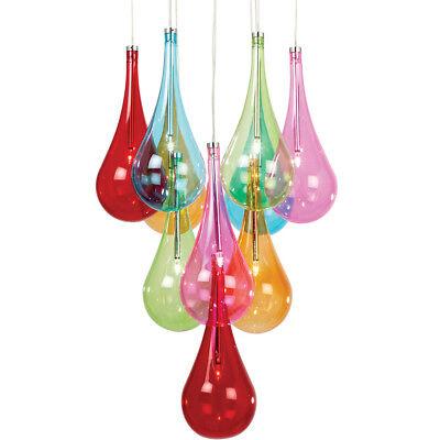 sale retailer 155db afce3 Multi Light Ceiling Pendant– 10 Bulb Coloured Glass Chandelier– Chrome Lamp  Rose 5056199806522 | eBay
