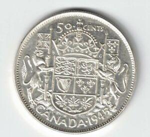 CANADA-1945-BLUNT-5-50-CENTS-HALF-DOLLAR-GEORGE-VI-CANADIAN-800-SILVER-COIN