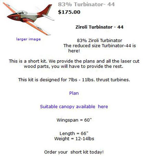 Ziroli Turbinator - 44 versión menores, para un kit de corto 7Lb tubine, y planes
