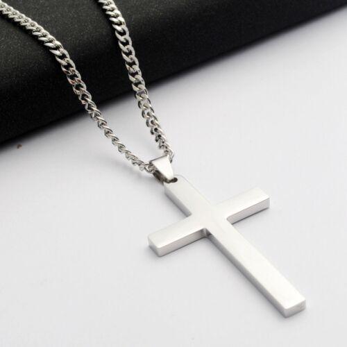 Stainless Steel Plain Silver Jesus Cross Crucifix Pendant Necklace Mens /& Womens
