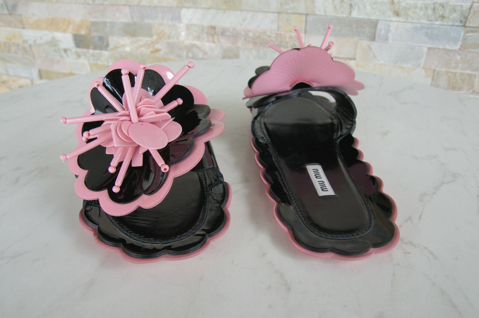 Miu Miu Size 38,5 Backless Backless Backless Sandals Sandals Slippers shoes Pink New Previously 69f62f