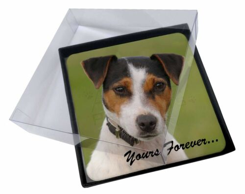 4x Jack Russell 'Yours Forever' Picture Table Coasters Set in Gift Bo, ADJR57yC
