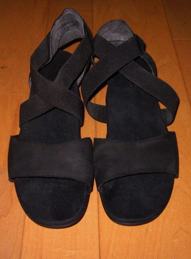 Munro Womens Black Stretch   Suede Leather Sandals 8.5 N