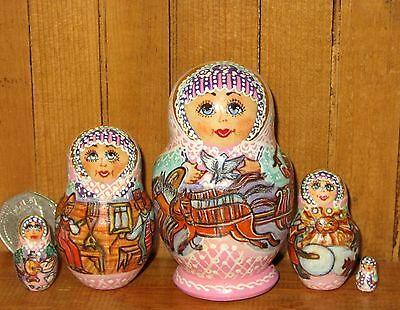 Russian SMALL Nesting Doll SIDOROVA signed SPRING Shrovetidel 5 matryoshka