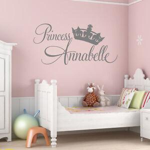 Dettagli su Personalizzato per Neonate principessa Wall Sticker Camera Da  Letto Vivaio Arte- mostra il titolo originale