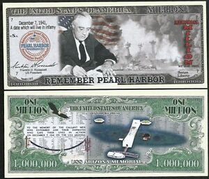 Lot-of-500-BILLS-Remember-Pearl-Harbor-with-FDR-amp-USS-Arizona-Memorial-Million