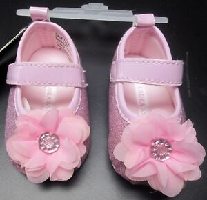 NEW BABY GIRLS LAURA ASHLEY SPARKLY PINK PATENT DRESS SHOE SZ 3