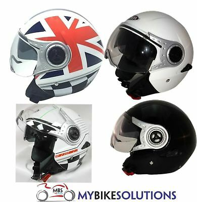 Westt/® Jet /· Open Face Motorbike Helmet in Matte Black with Double Visor /· Crash Helmets Motorcycle Moped Scooter /· ECE Certified