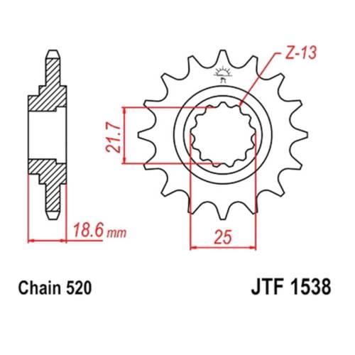 JT Sprockets Ritzel 14Z T 520 Fein verzahnt Innen 22//25mm Kawasaki Z 750 J F15