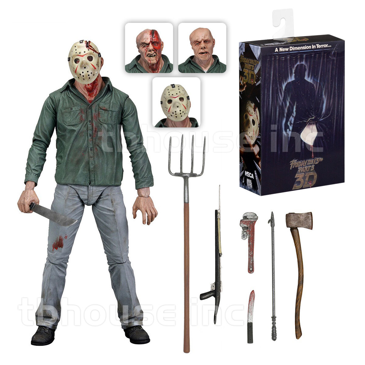 7  ULTIMATE JASON VOORHEES figure FRIDAY THE 13TH action PART 3 III set NECA 3D