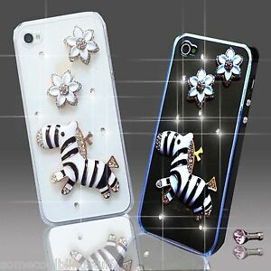 NEW 3D DELUX BLING DIAMANTE FLOWER ANIMAL CASE COVER FOR VARIOUS MOBILE PHONES