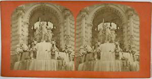 Stéréo, France, Marseille, fontaine palais Palais Longchamp Vintage stereo card,