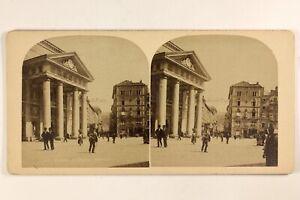 Italia-Trieste-Place-Animata-Foto-Stereo-Vintage-Albumina-c1880