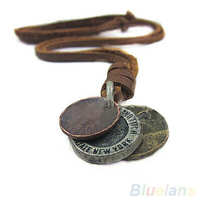 Fashion Mens Womens Unisex Punk Charms 3 Coins Pendant Genuine Leather Necklace