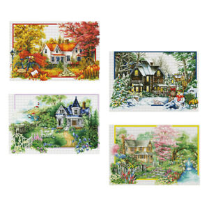 4-pezzi-Four-Seasons-Pattern-Timbro-a-punto-croce-Kit-11-Conte-Embroidry