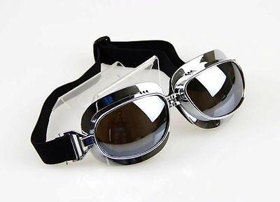 Cool Man Aviator Pilot Cruiser Motorcycle Scooter ATV Goggles Eyewear Silver