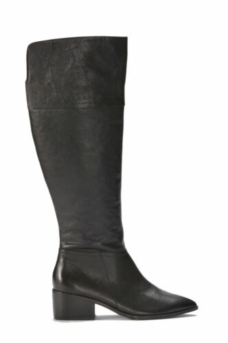 NEW TOP QUALITY GENUINE BLACK LEATHER LONG //FOLD TOP BOOTS ELLOS SIZES 3-7.5