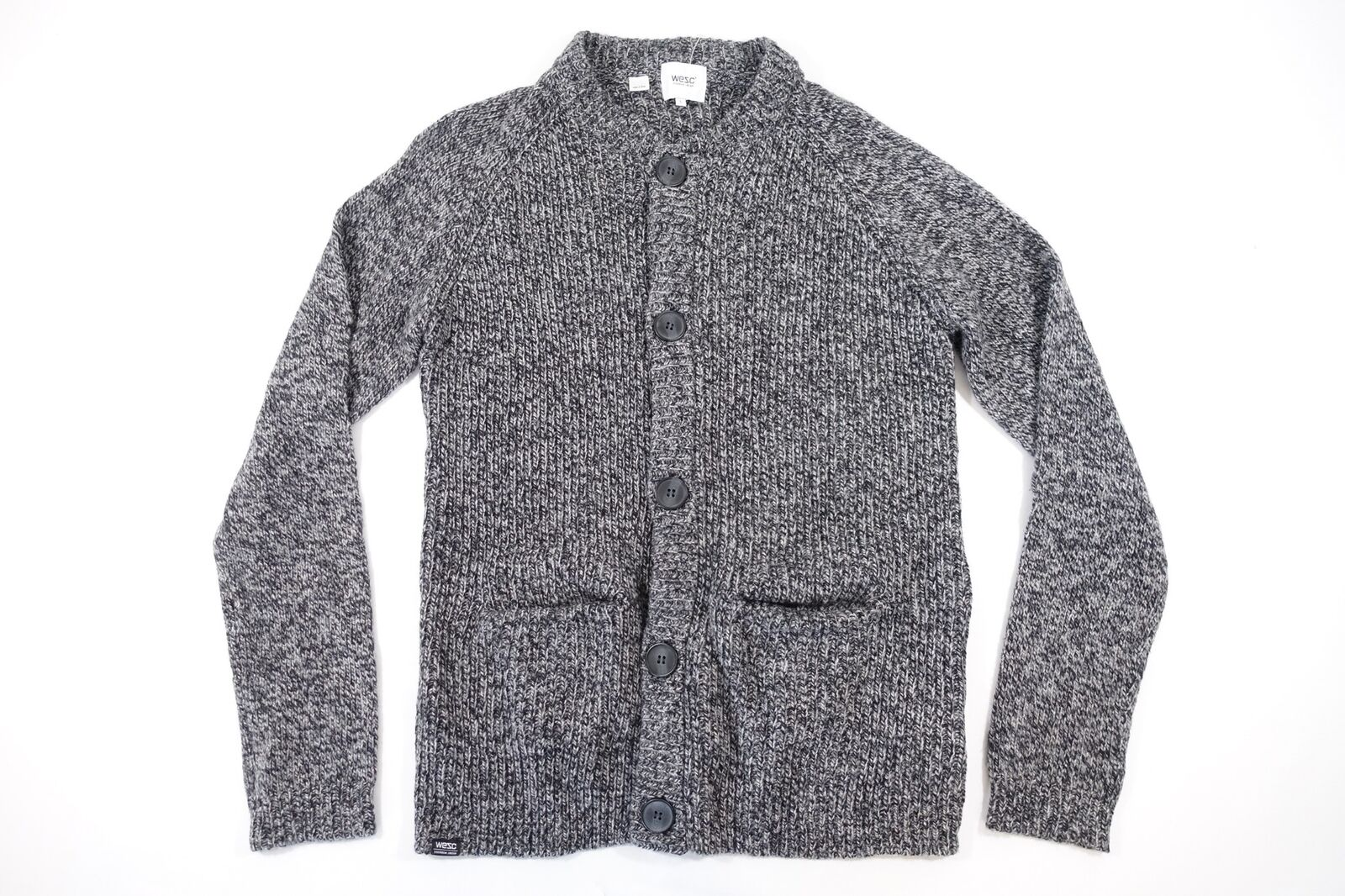 WESC WE ARE SUPERLATIVE CONSPIRACY LARGE KNIT WOOL BLEND BUTTON FRONT SWEATER