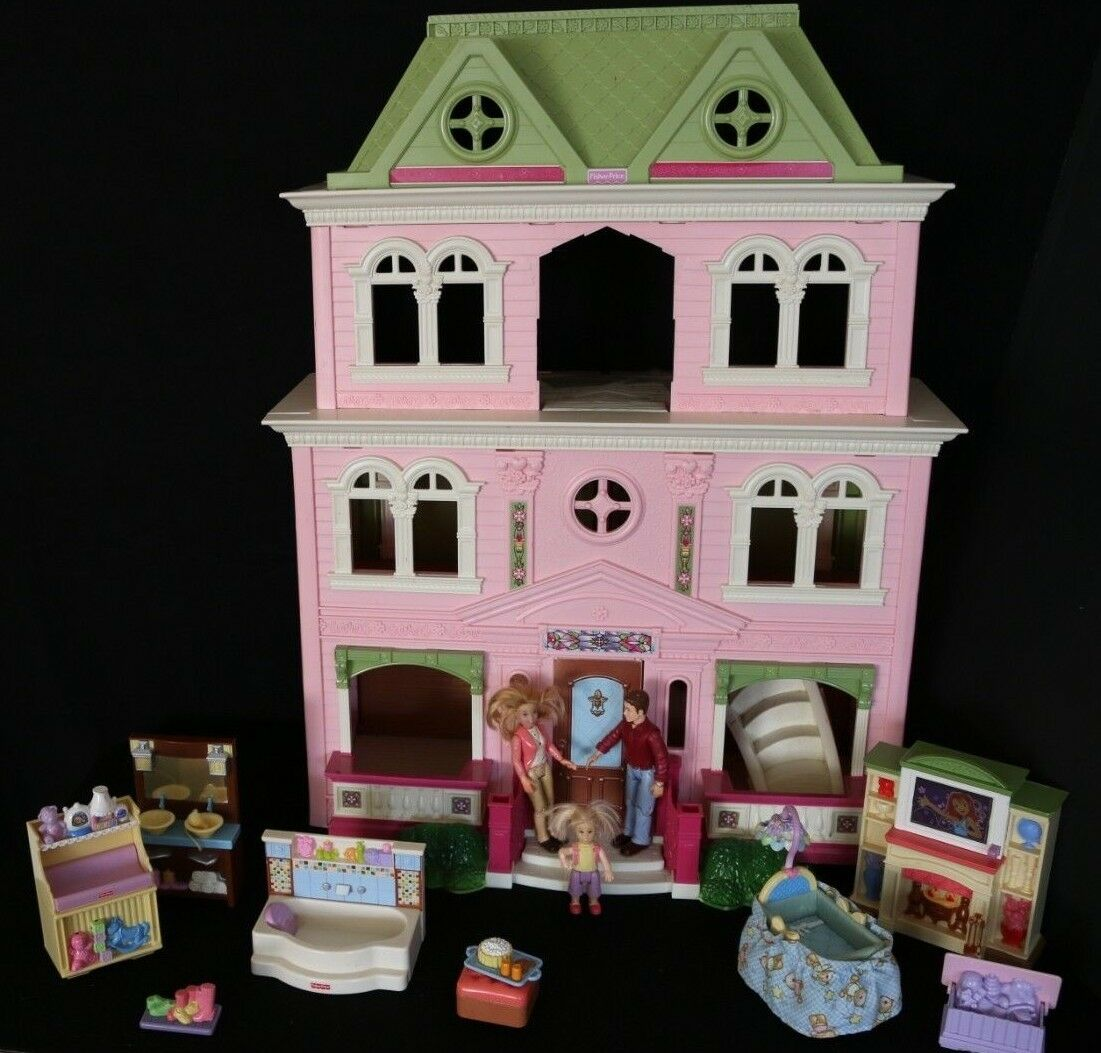 FISHER PRICE LOVING FAMILY FOLD & PLAY GRAND MANSION DOLLHOUSE + FIGURE FUNITURE