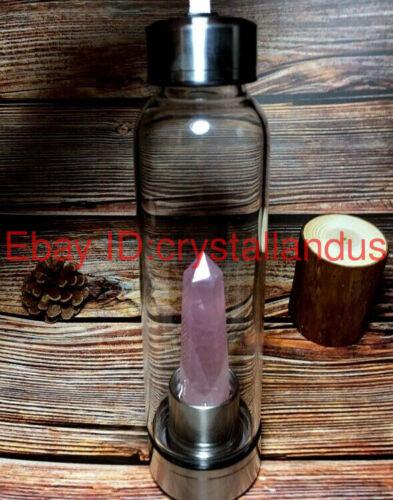 Natural Elixir Quartz Crystal obelisk Water Bottle Point reiki Healing Wand-4