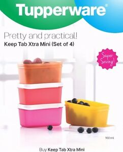 Tupperware-Keep-Tab-Xtra-MINI-Set-of-4-160-ml-each-Multicolor-Snacks-Container