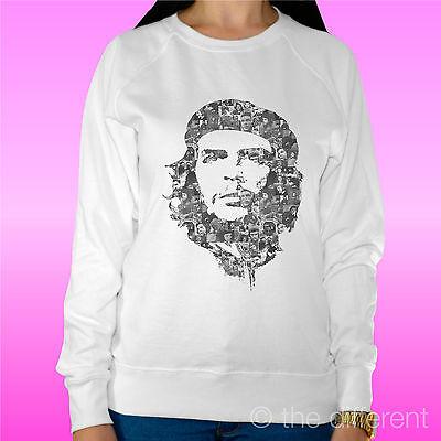 """Aspirante Felpa Donna Leggera Sweater Bianco """" Che Guevara Multi Foto """"road To Happiness"""