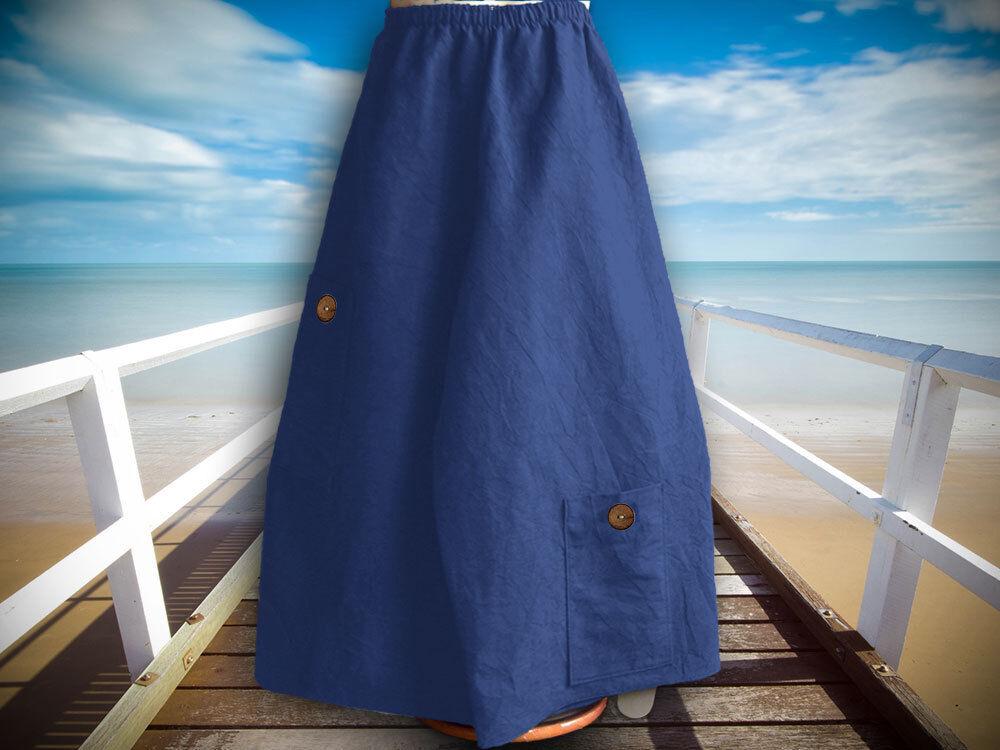 Superposé Marlène, Tailles De 48-62, Lin Bleu-össen Von 48-62, Leinen Blau