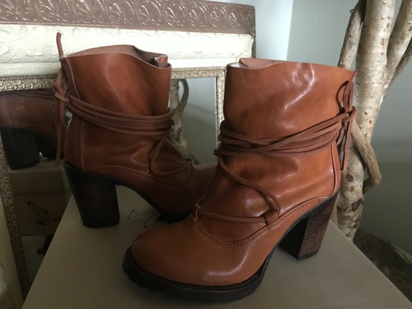FREEBIRD BY STEVEN JUMPN WOMENS COGNAC LEATHER Strappy Lace Ankle Boot 7M  295