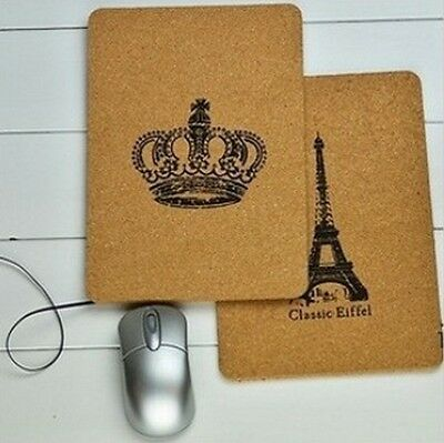 2 Pcs Retro Eiffel Tower Crown Computer Laptop Mouse Mat Pad Cork Soft Wood