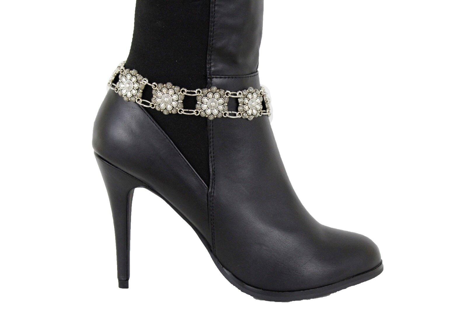 Women Boot Bracelet Silver Metal Chain Anklet Shoe Bling Flower Charm Strap Cute