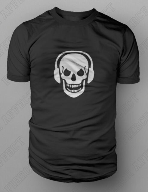 Skull And Phones DJ Clubbing Headphones T-shirt S-XXL FREE UK POST Death Zombie
