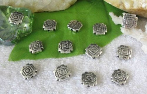 50pcs Tibetan silver square spacer beads FC10596