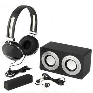 Intempo 4-In-1 Stereo Black Gift Set Headphone Speaker Mini Blaster