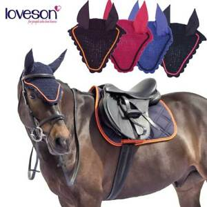 Loveson Crochet Ear Net Fly Veil Navy//Orange//Pink//Blue//Grey//Teal Pony//Cob//Full