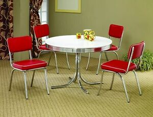 Red 50s Retro 5PC Dining Set Table Chairs Chrome Kitchen Dinette Vintage Meta