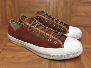 RARE-Converse-All-Star-Brown-Leather-White-Walls-Sneakers-Laced-OX-Sz-10-Men-039-s