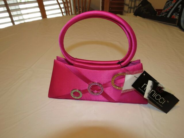 Mini evening bag purse handbag tote pink Minicci prom dance date womens junior#
