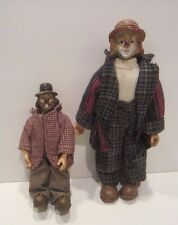 Two Vintage Hobo Clown Figures...Painted Resin and Fabric