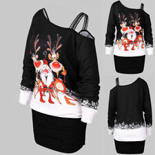 228f1629f2705 Fashion Women Cold Shoulder Christmas Cotton Dress Ladies Party Mini Dress  Tops