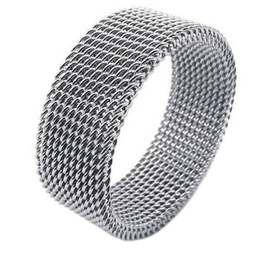 Flexible Sieve Mesh Band J76 Jewelry Men/'s Ring Women/'s Ring Stainless Steel
