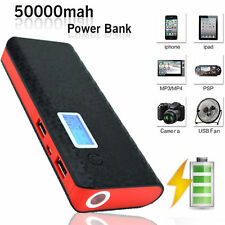 50000mAh Portable 2-USB Battery Charger LCD Mobile Power Bank For I phone Black