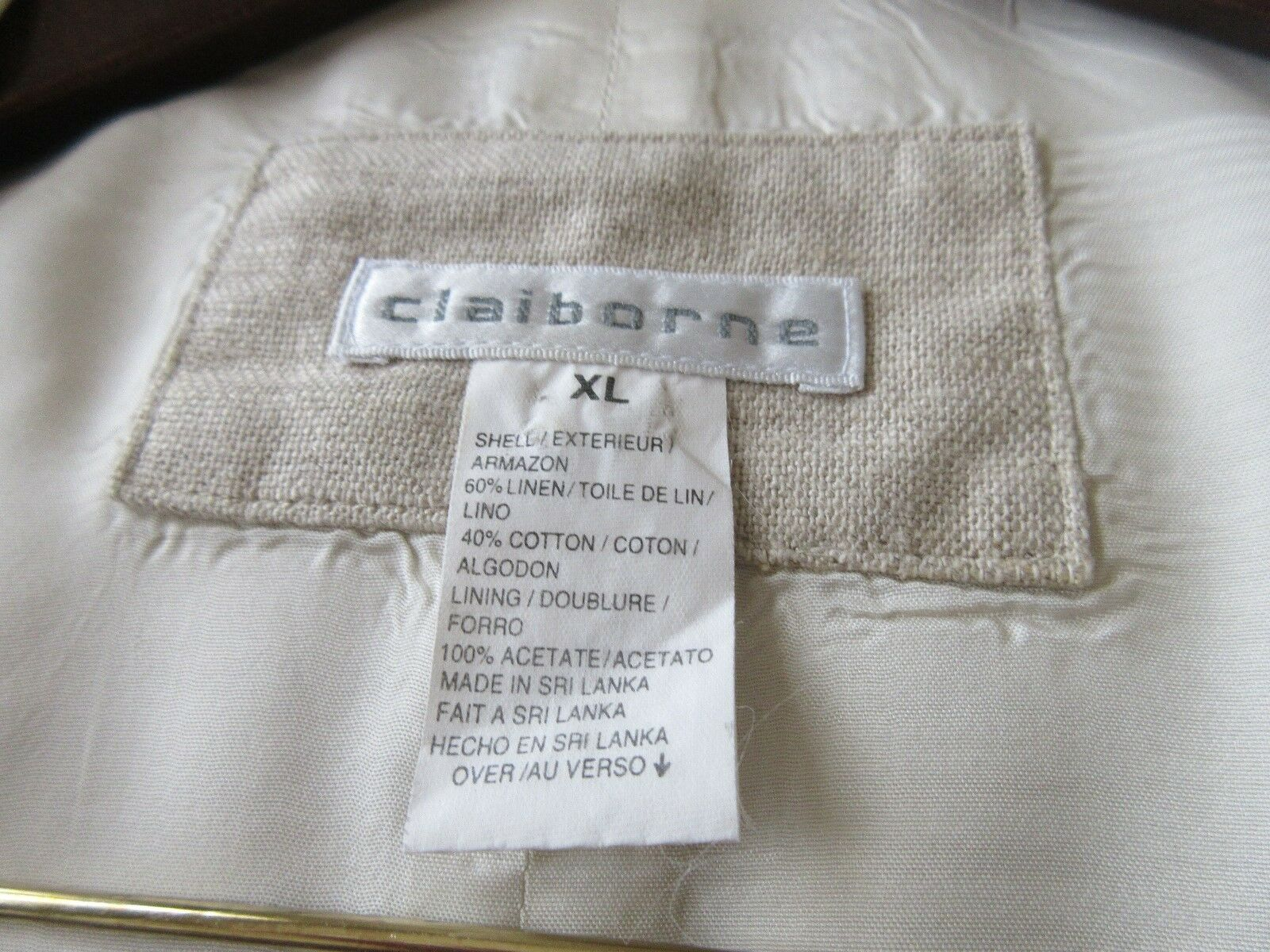 Men's Vest , Claiborne ,Tan / White Lining , XL Size ,V